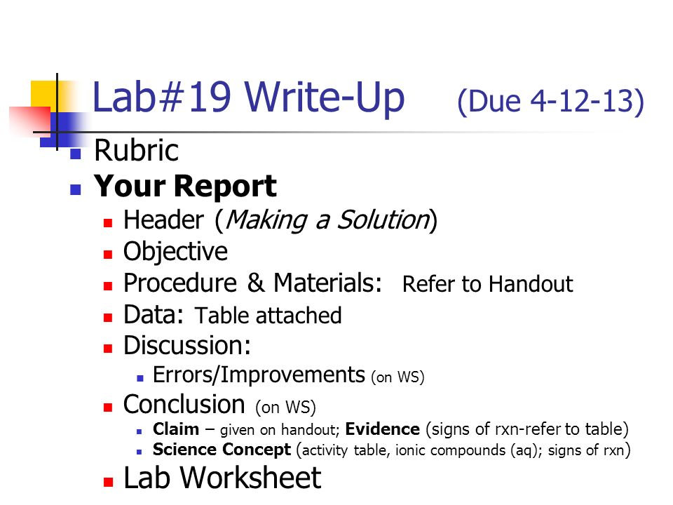 eco column lab write up Apes eco-column formal lab report guidelines lab report and should follow the formal lab write-up write an explanation of how your eco-column was.