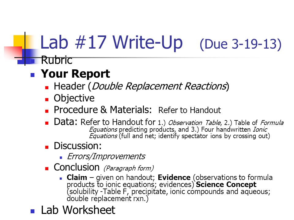 Lab #24 Write-Up (Due ) Rubric Your Report Lab Worksheet - ppt ...