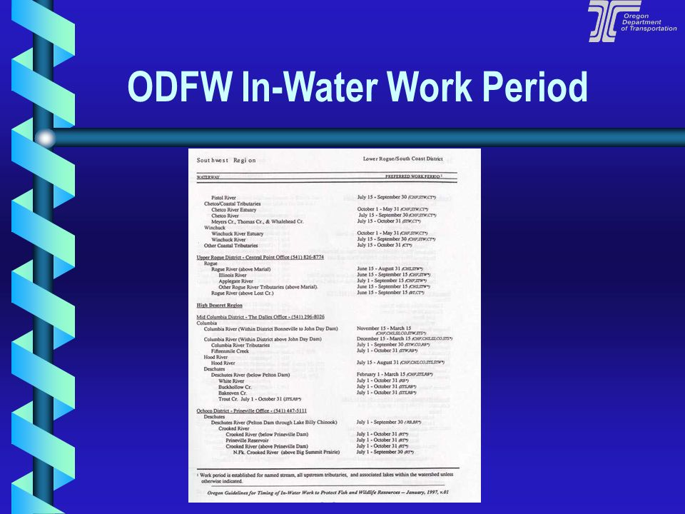 ODFW In-Water Work Period