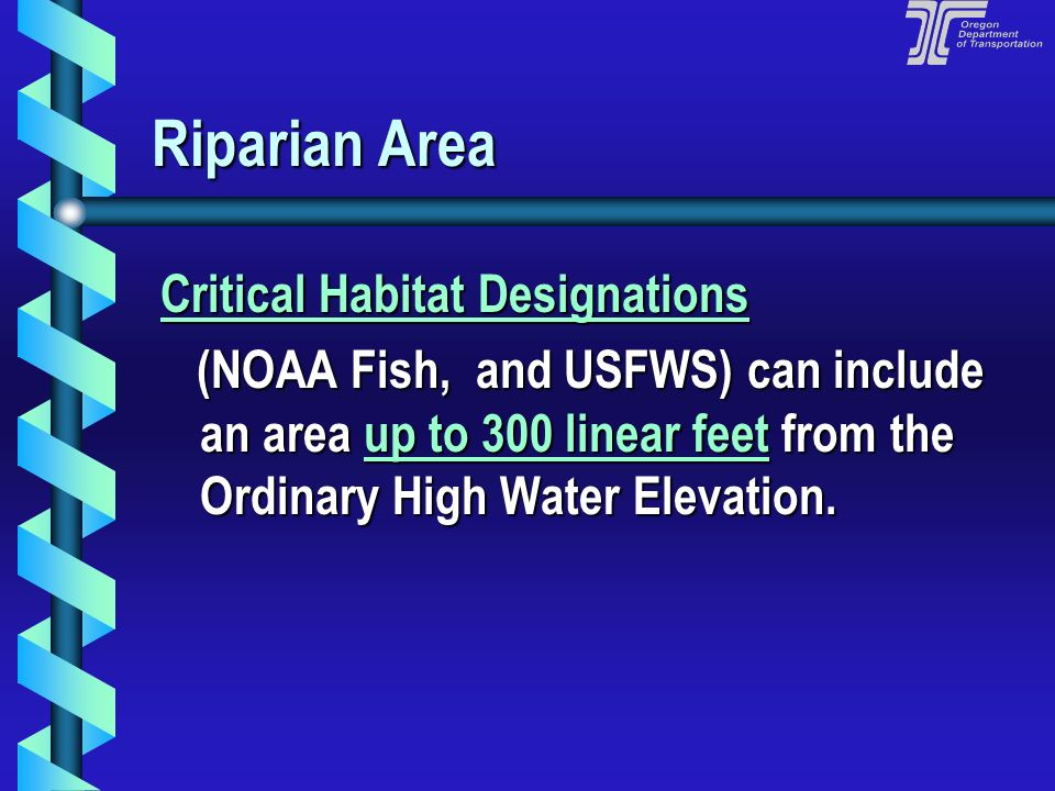 Riparian Area Critical Habitat Designations