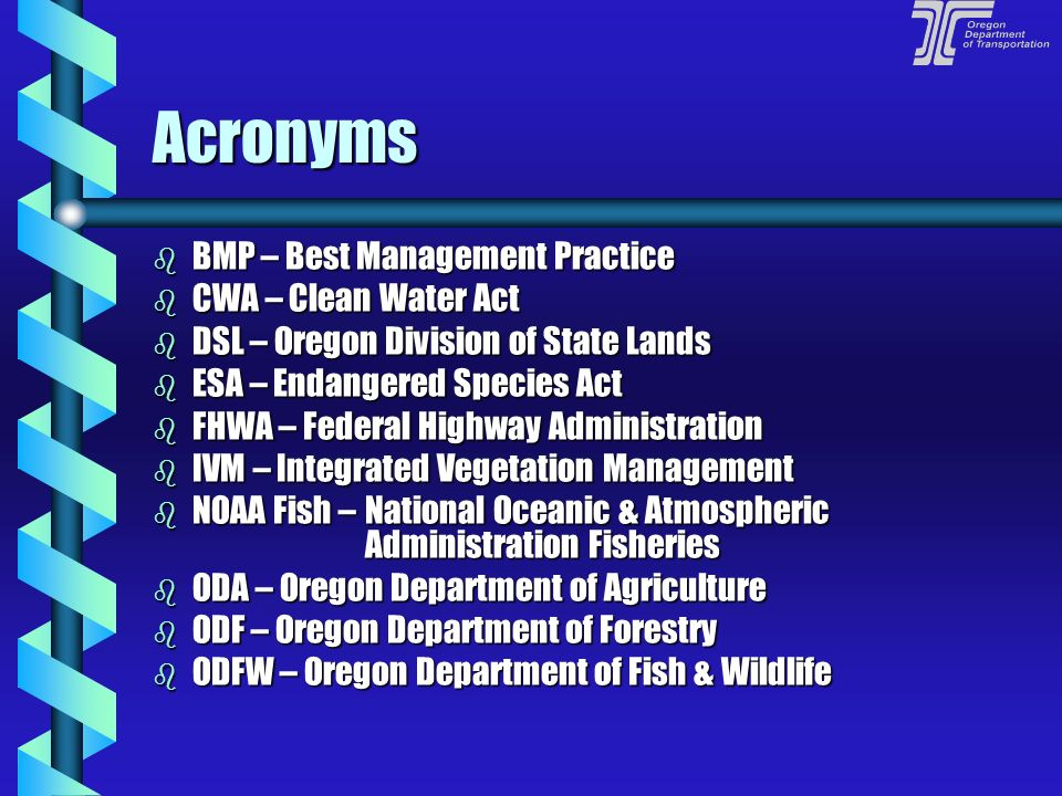 Acronyms BMP – Best Management Practice CWA – Clean Water Act