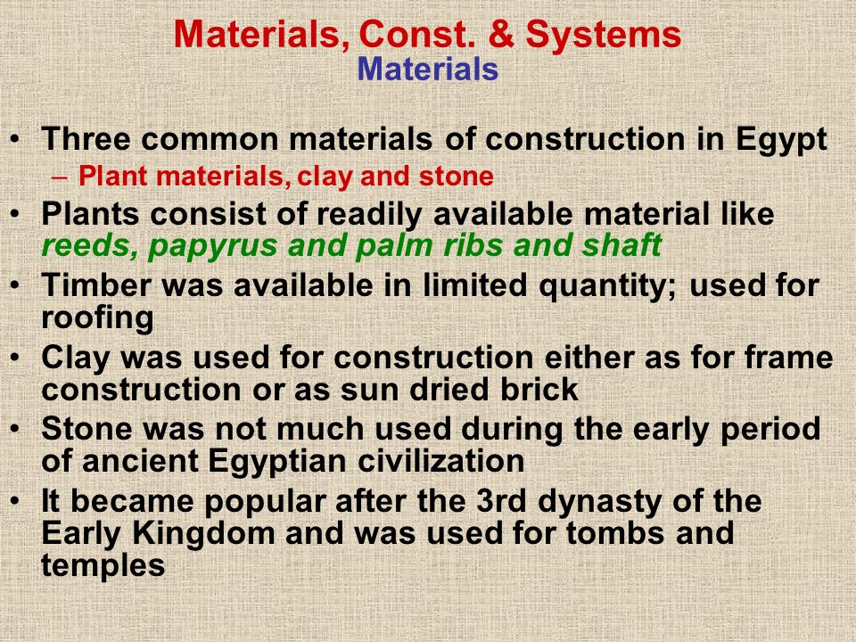 Materials, Const. & Systems Materials