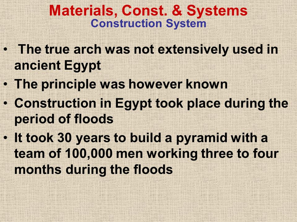 Materials, Const. & Systems Construction System