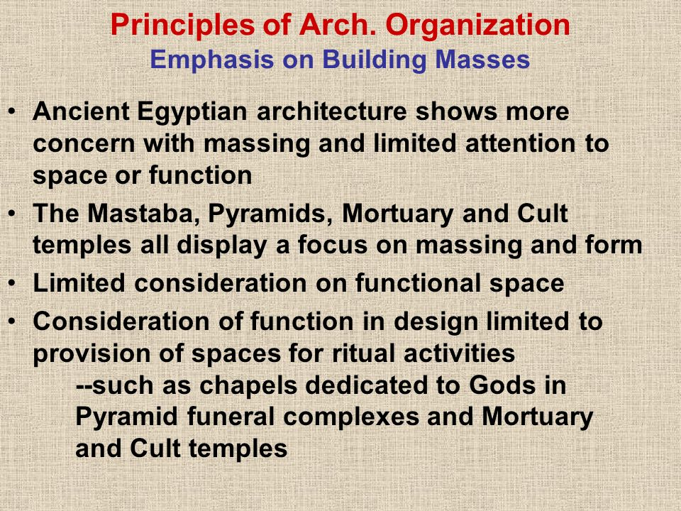 Principles of Arch. Organization Emphasis on Building Masses