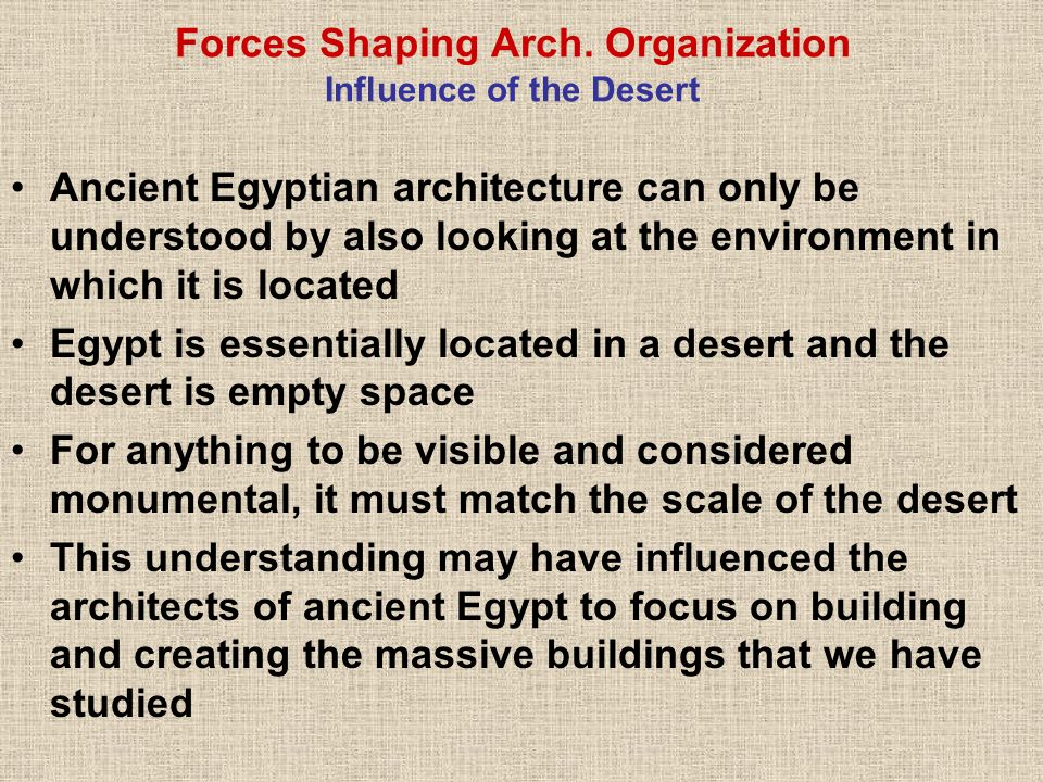 Forces Shaping Arch. Organization Influence of the Desert