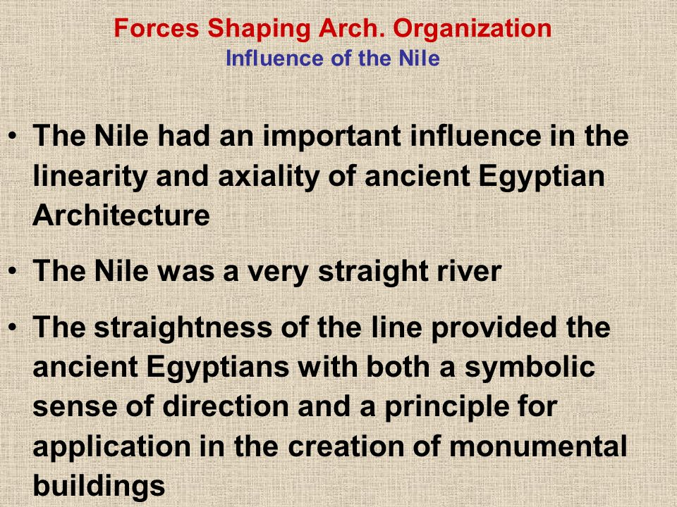 Forces Shaping Arch. Organization Influence of the Nile