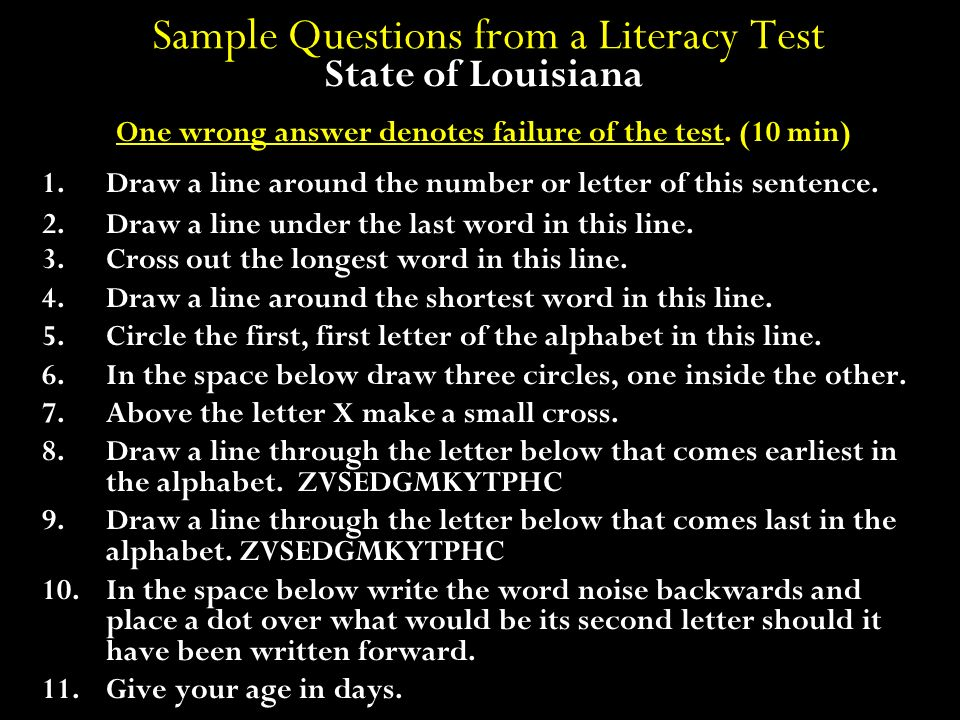 Sample Questions from a Literacy Test
