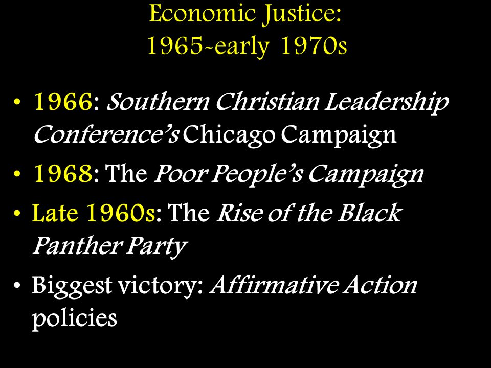 Economic Justice: 1965-early 1970s