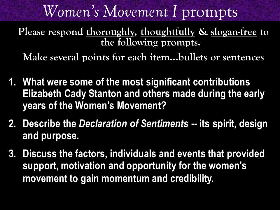 Women's Movement I prompts