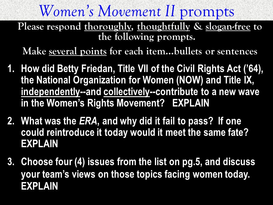 Women's Movement II prompts