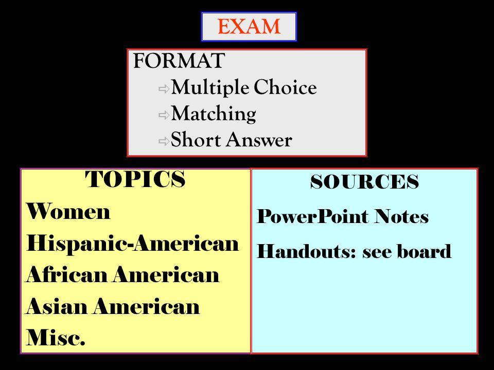 EXAM FORMAT Multiple Choice Matching Short Answer TOPICS Women