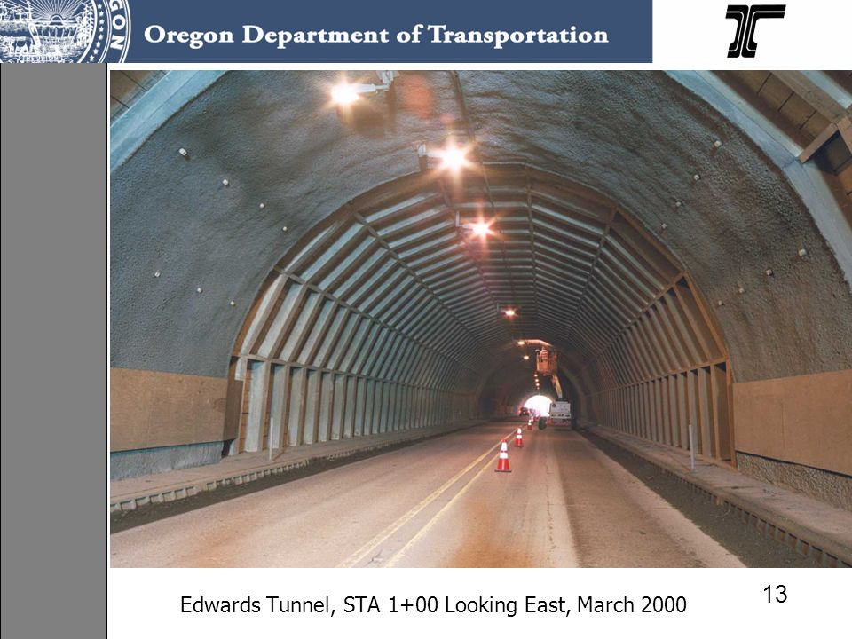 Edwards Tunnel, STA 1+00 Looking East, March 2000