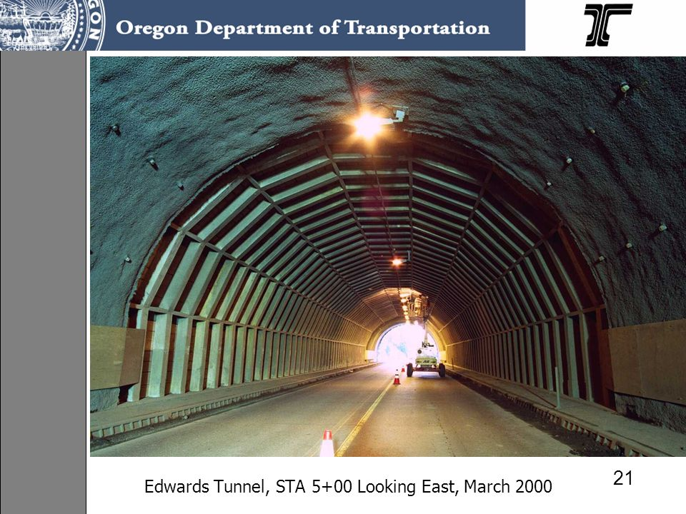 Edwards Tunnel, STA 5+00 Looking East, March 2000