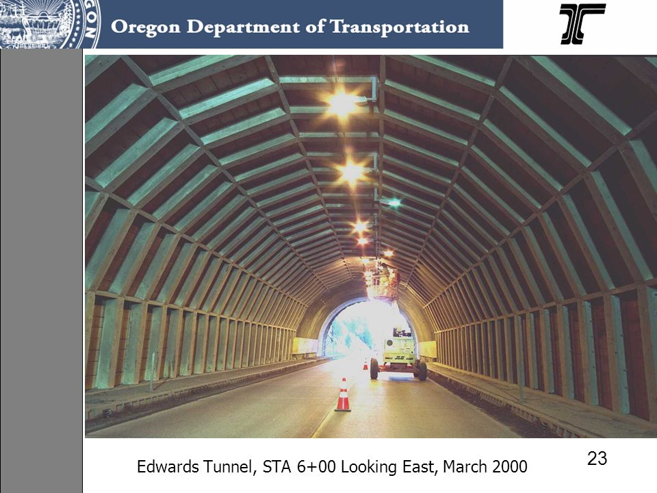 Edwards Tunnel, STA 6+00 Looking East, March 2000