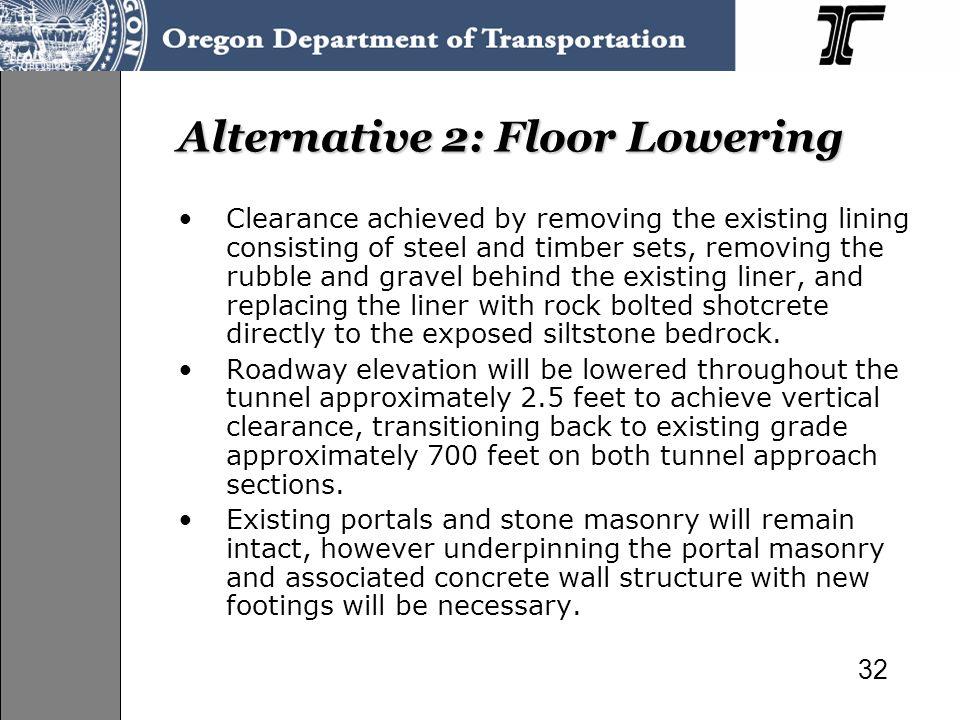 Alternative 2: Floor Lowering