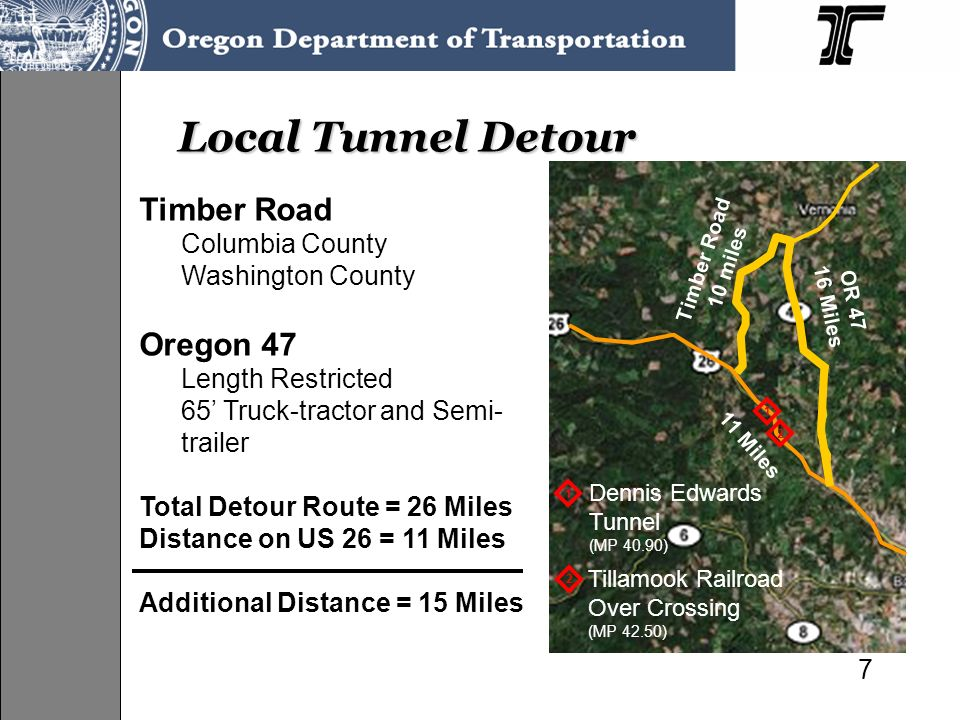 Local Tunnel Detour Timber Road Oregon 47 Columbia County