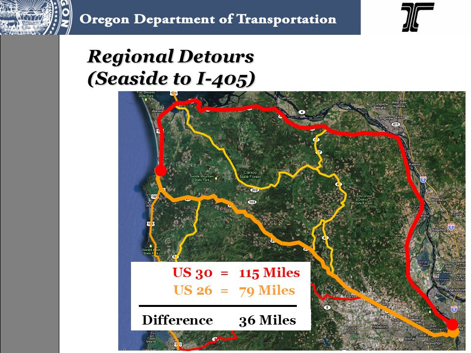 Regional Detours (Seaside to I-405)