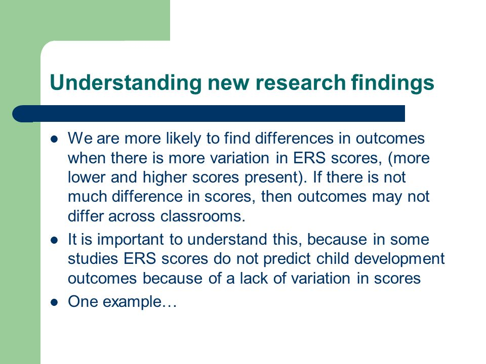 Understanding new research findings