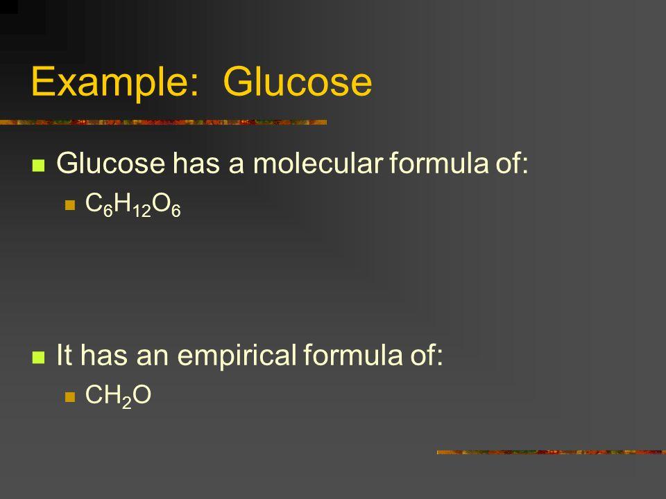 Example: Glucose Glucose has a molecular formula of: