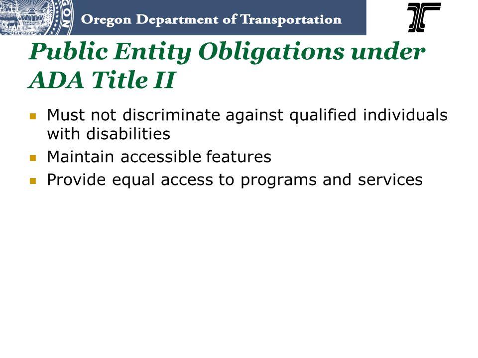 Public Entity Obligations under ADA Title II