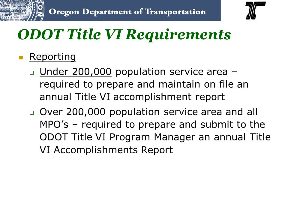 ODOT Title VI Requirements