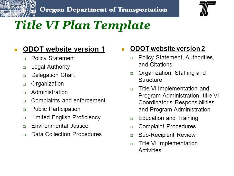 Title VI Plan Template ODOT website version 1 ODOT website version 2