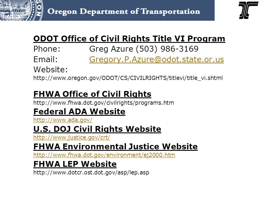 ODOT Office of Civil Rights Title VI Program