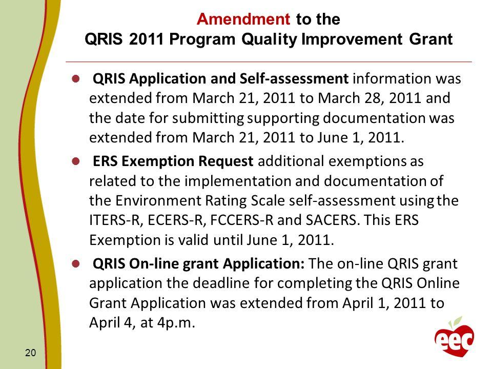 Amendment to the QRIS 2011 Program Quality Improvement Grant