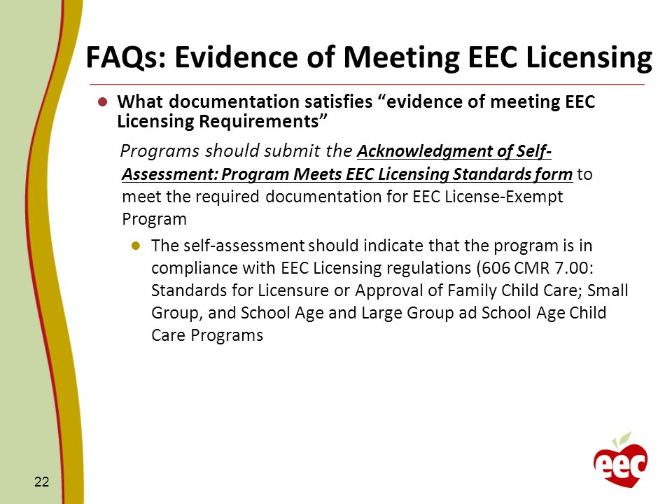 FAQs: Evidence of Meeting EEC Licensing