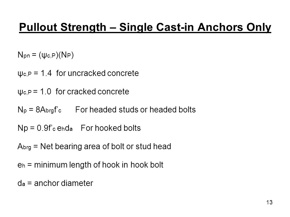 Pullout Strength – Single Cast-in Anchors Only