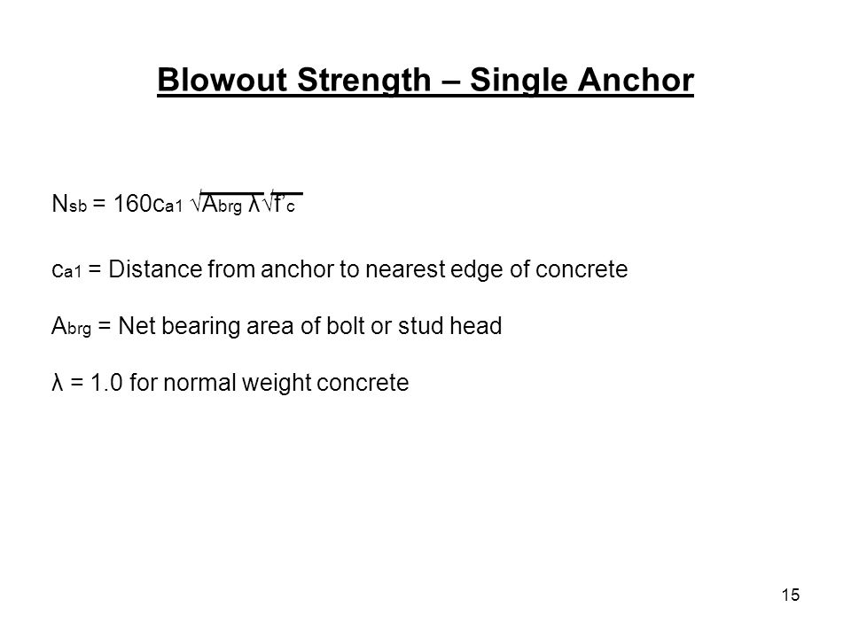 Blowout Strength – Single Anchor