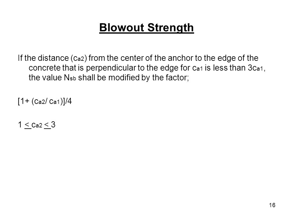 Blowout Strength