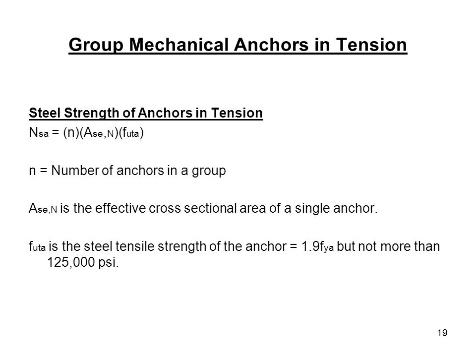 Group Mechanical Anchors in Tension