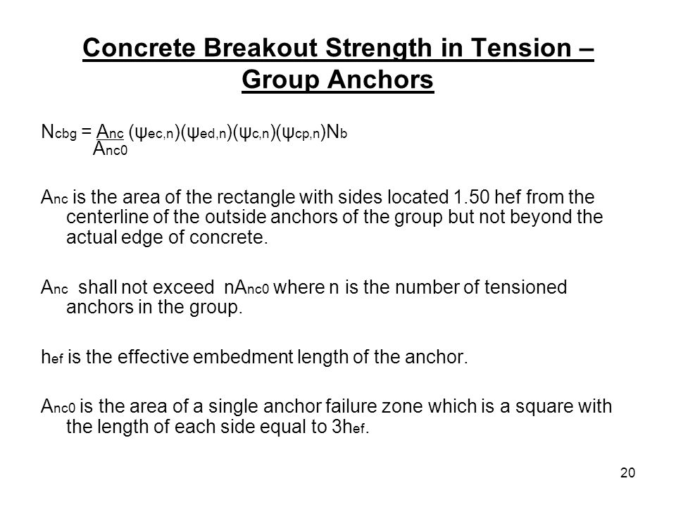 Concrete Breakout Strength in Tension – Group Anchors