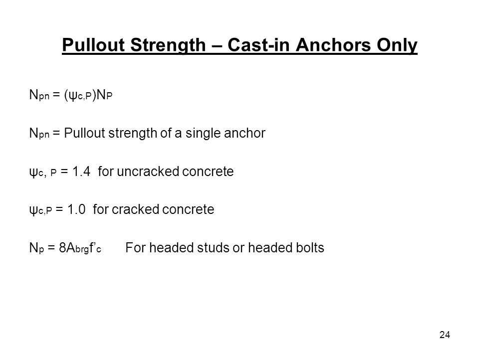 Pullout Strength – Cast-in Anchors Only