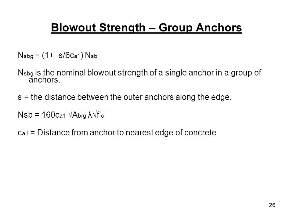 Blowout Strength – Group Anchors