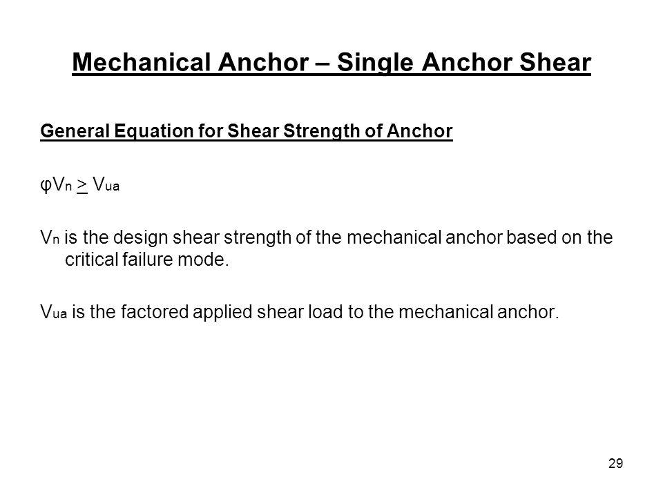 Mechanical Anchor – Single Anchor Shear