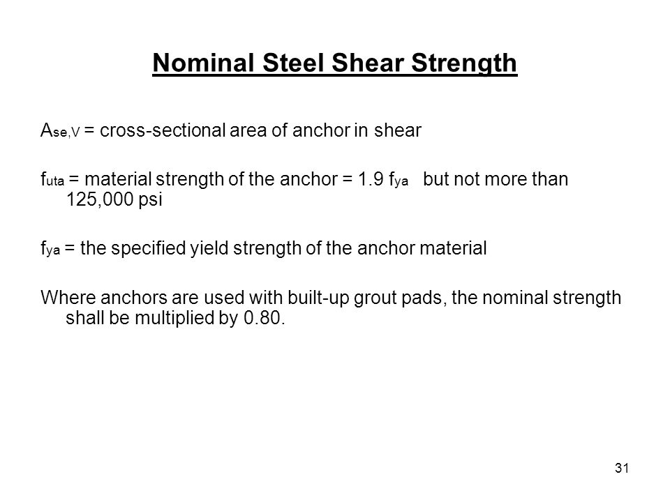 Nominal Steel Shear Strength
