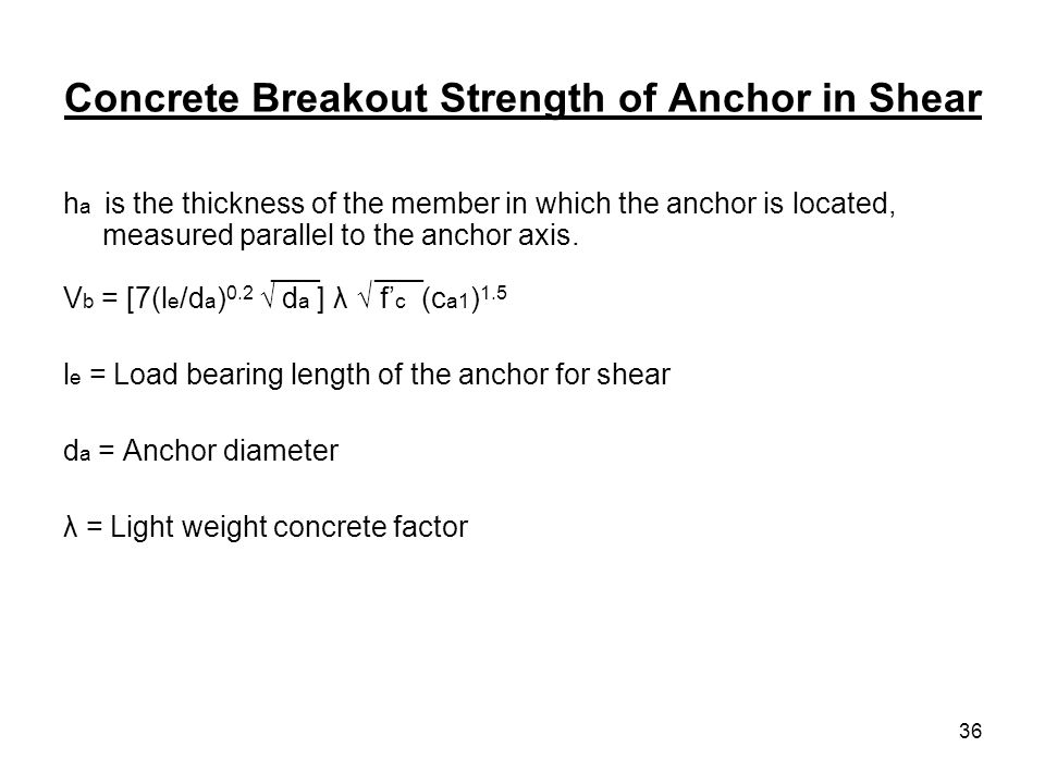 Concrete Breakout Strength of Anchor in Shear
