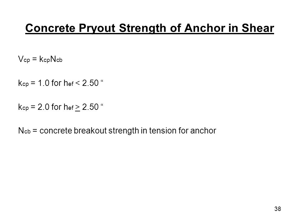 Concrete Pryout Strength of Anchor in Shear