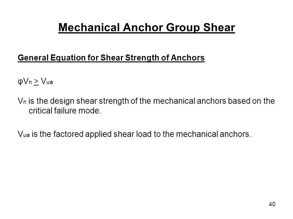 Mechanical Anchor Group Shear