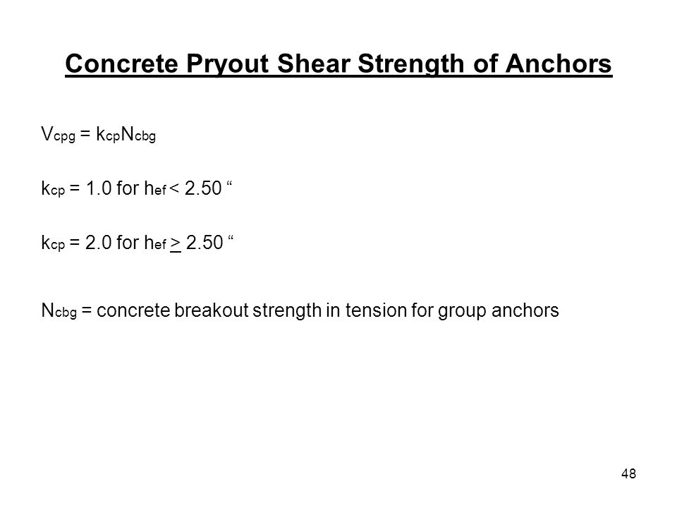 Concrete Pryout Shear Strength of Anchors