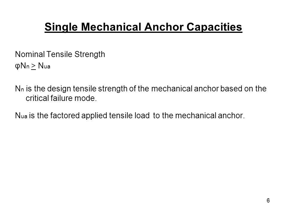 Single Mechanical Anchor Capacities