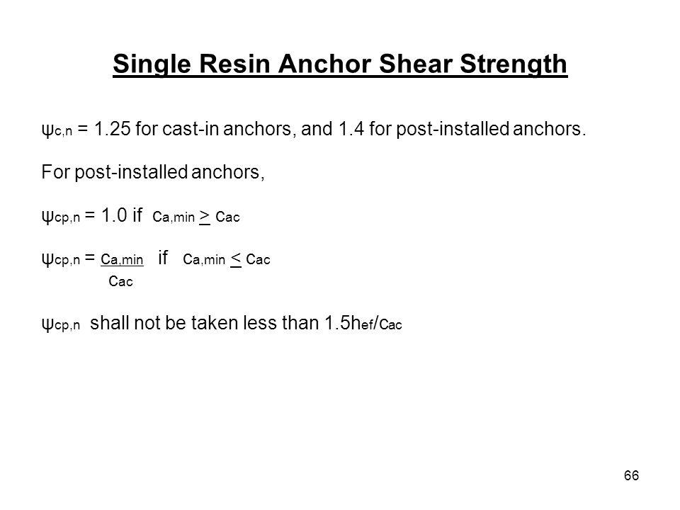 Single Resin Anchor Shear Strength