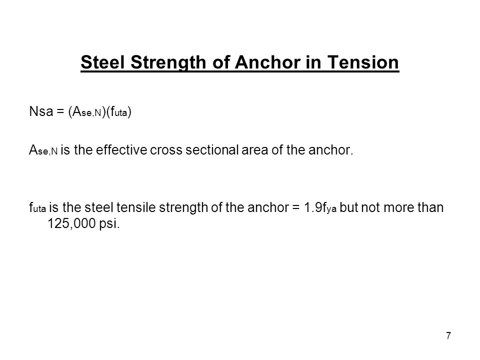 Steel Strength of Anchor in Tension