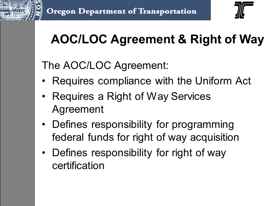 AOC/LOC Agreement & Right of Way