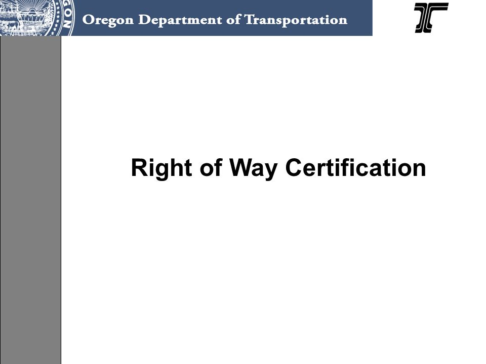 Right of Way Certification
