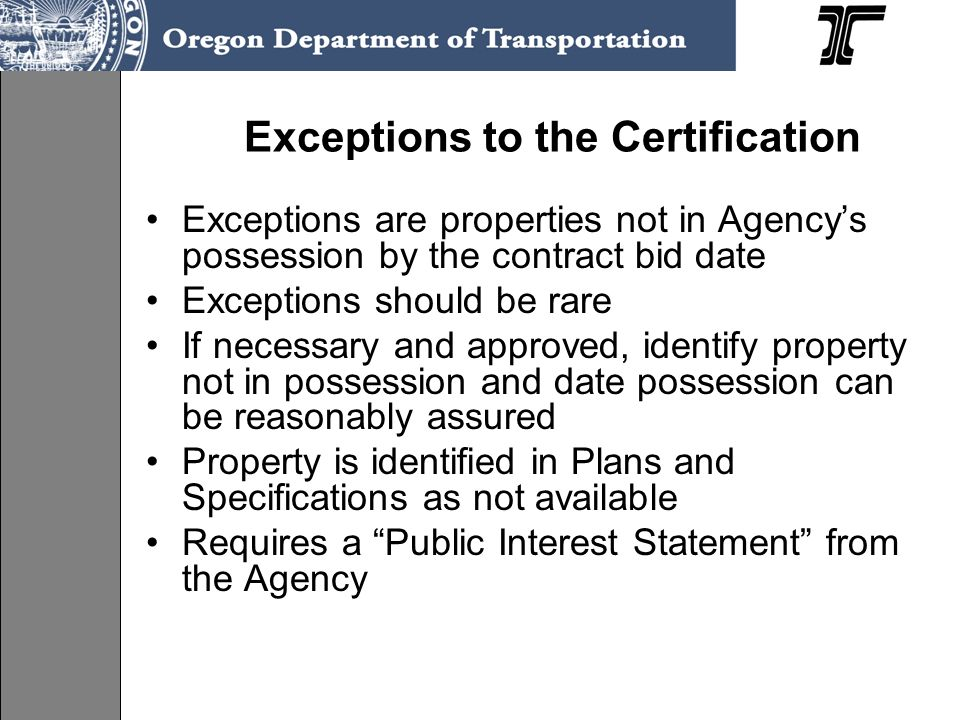 Exceptions to the Certification