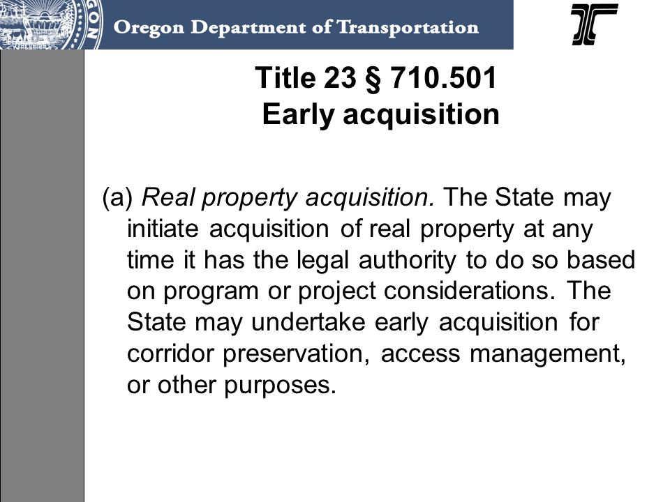 Title 23 § 710.501 Early acquisition