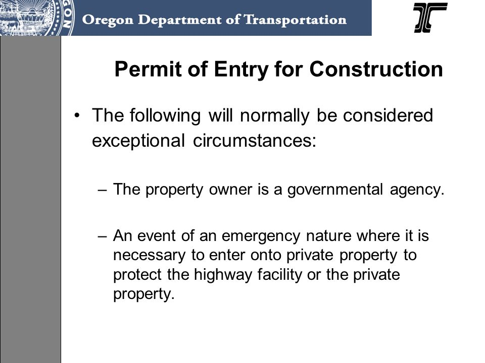 Permit of Entry for Construction